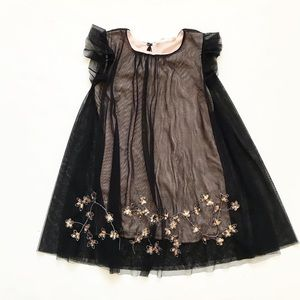 Zara black tulle overlay floral sequin dress EUC 7